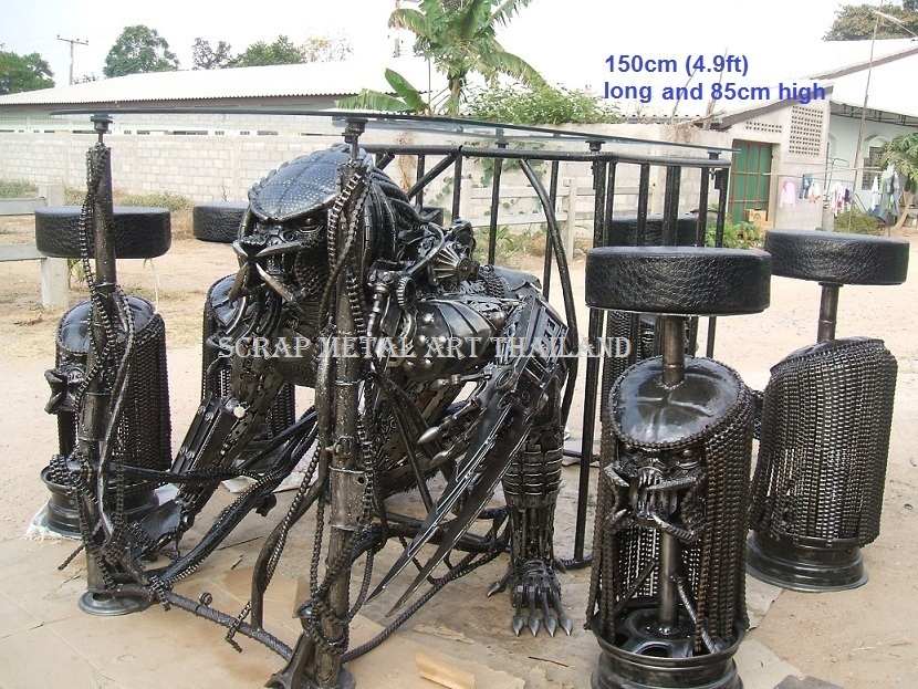 spiderman table and chairs hanging rattan chair indoor scrap metal art furniture, alien table, predator furniture for sale