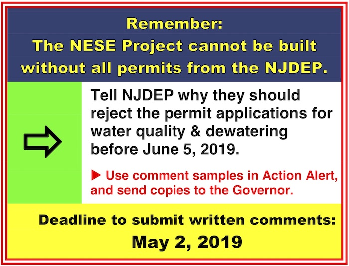 announcement of action alert updated April 7, 2019 with links to talking points and sample comments for contacting state officials to request denial of water permit applications.