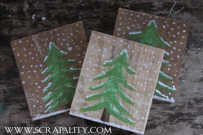 Pallet Wood Christmas Coasters3