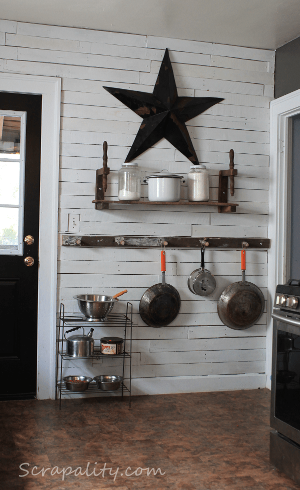 kitchen ladder stainless steel sink commercial pots and pans storage using an old in the scrapality pan vintage