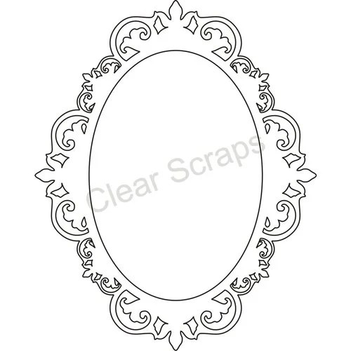 Clear Scraps Small Oval Center, Fancy Outer Frame