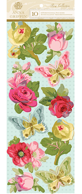 Anna Griffin Rose Art 3 Dimensional Stickers