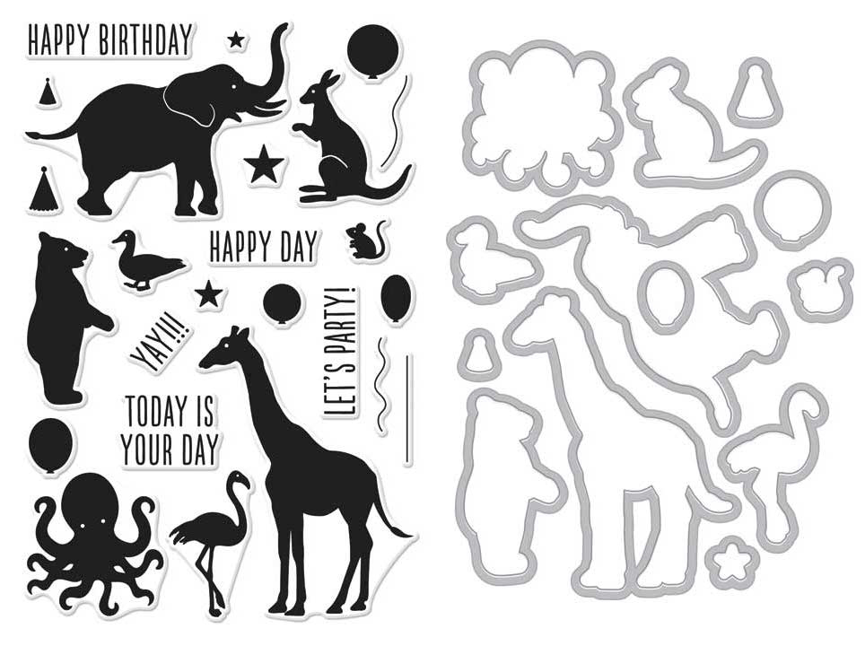 Hero Arts Friendly Critters Birthday Animal Silhouettes