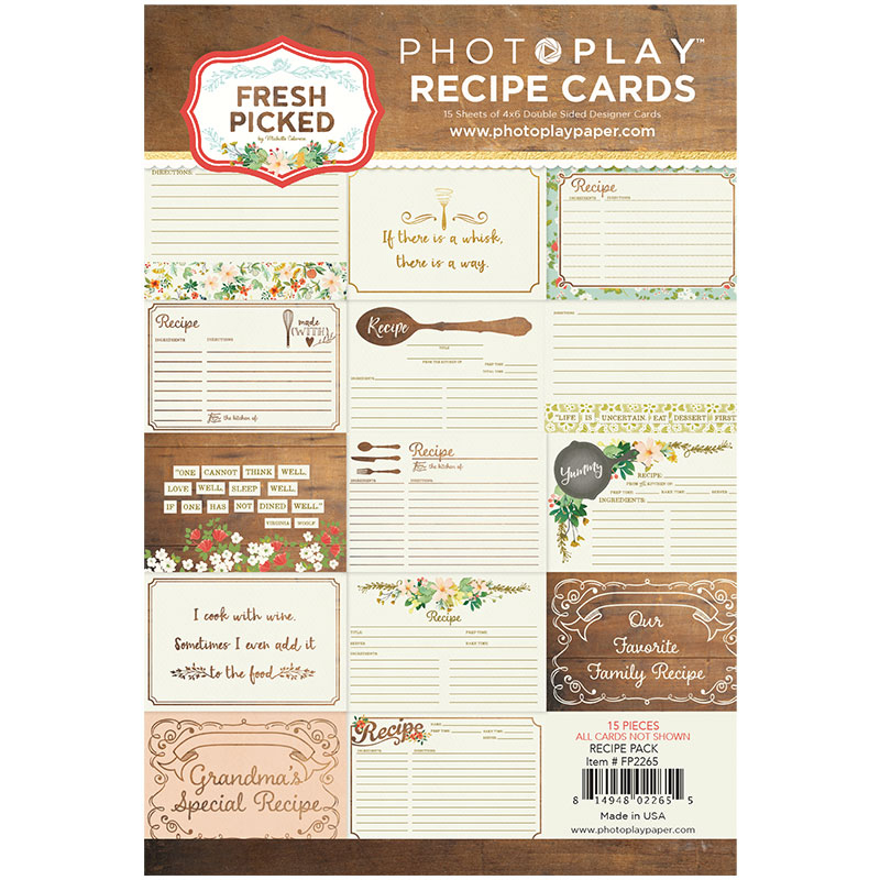 Photo Play Paper Fresh Picked Recipe Card Pack