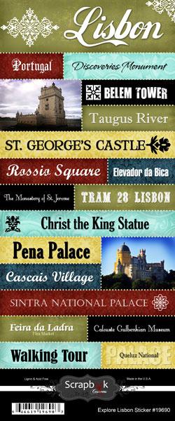 Scrapbook Customs World Collection Portugal Cardstock Stickers Explore Lisbon