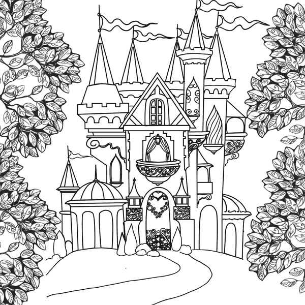 Scrapbook Customs Castle and Trees Paper
