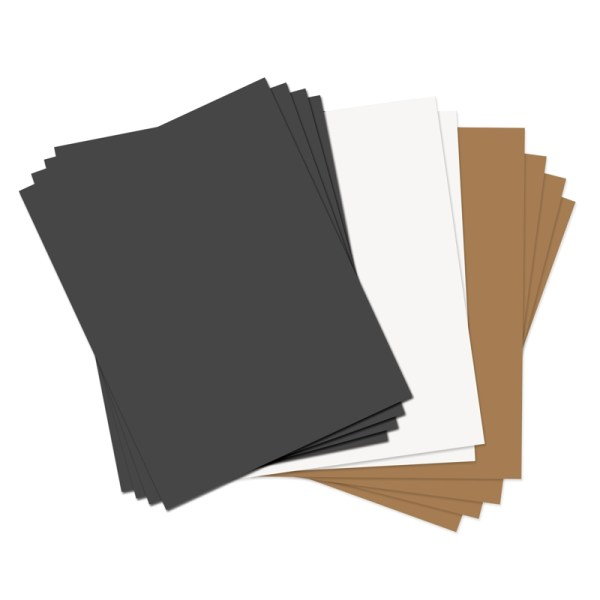 Sizzix Black Tan And White 8.5 X 11 Paper Leather Sheets Assorted Basics 10 Pack