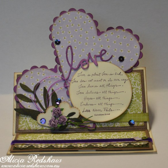 Cardmaking Class by Alicia Redshaw at Scrapbook Fantasies | A beautiful double heart easel card that would be perfect to a Wedding, Anniversary or significant other