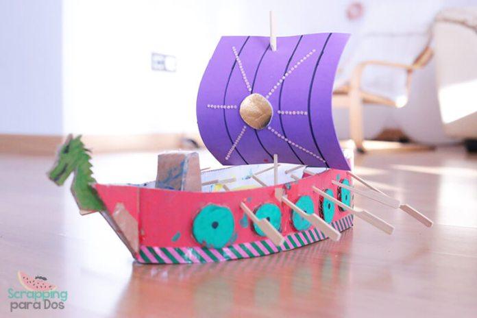 como hacer un barco de cartón vikingo