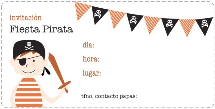 invitación cumpleaños pirata