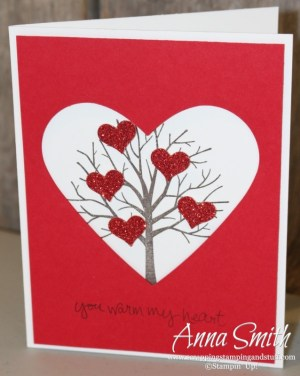 Valentine's card made with the Sheltering Tree stamp set.