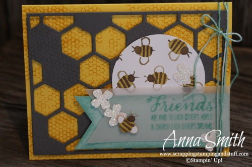 Bee My Friend Card Hexagon Hive Thinlits and English Garden designer series paper #tgifc15