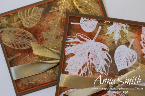 Vintage Leaves Emboss Resist Card with tissue stamping