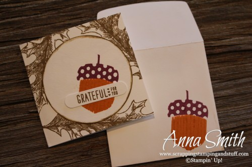 Mini Acorny Thank You Card Stampin' Up! also uses Vintage Leaves stamp set