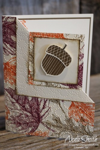 Acorny Fancy Fold Corner Card using Vintage Leaves and Acorny Thank you stamp sets