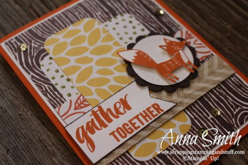 Foxy Friend Fall Card created using Stampin' Up! Thankful Forest Friends stamp set and Into the Woods designer series paper CYCI#93 MOJO422
