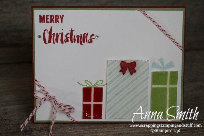 Stampin' Up! Your Presents Christmas Card also using Seasonal Snapshot stamp set #ppa276 #pp271