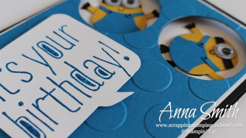 Minion Birthday Card using Stampin' Up! Owl Builder Punch, Big News and Celebrate Today stamp sets