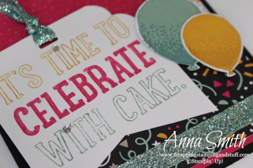 It's Time to Celebrate With Cake birthday card made with Party with Cake and Balloon Celebration stamp sets, It's My Party paper and balloon bouquet punch