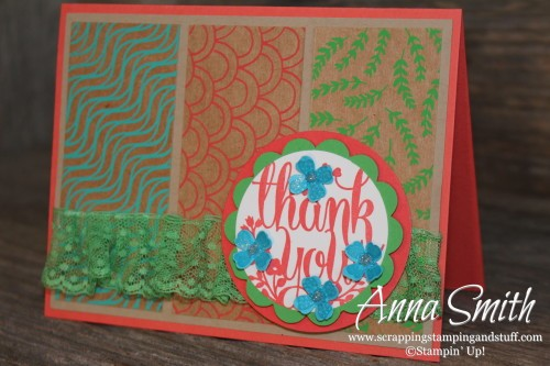 Mod Thank You Card made with A Whole Lot of Lovely stamp set and Shine On specialty paper