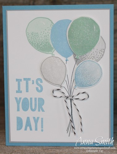 Balloon Celebration birthday card using Stampin' Up! Balloon Celebration and Party With Cake stamp sets and Balloon Bouquet punch