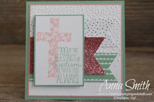 Blessed by God Baptism Card for girl, Birthday Bouquet designer series paper