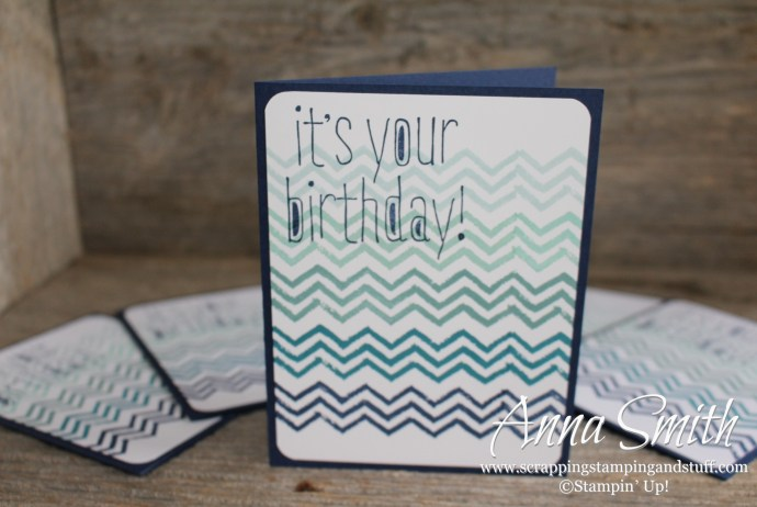 Chevron birthday card made with Stampin' Up! Big News and Work of Art stamp sets. Great card for a man!