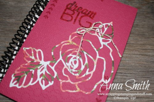 Decorated notebook handmade gift idea made with Stampin' Up! Rose Garden thinlits and Enjoy the Little Things stamp set