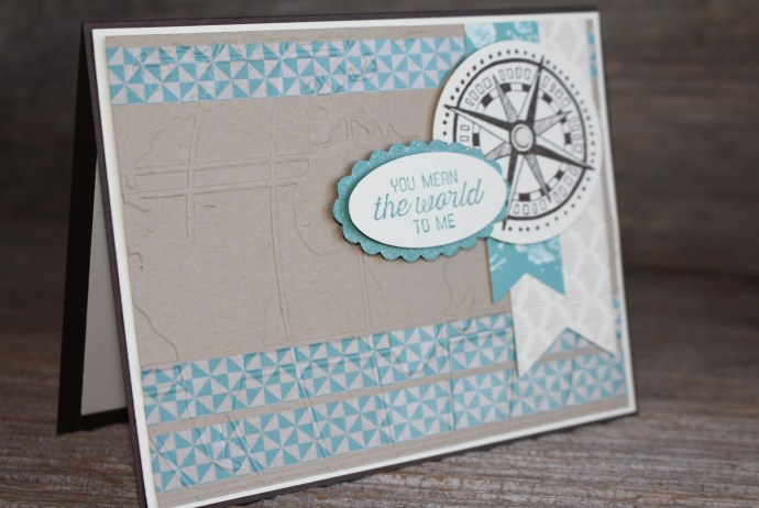Going Global You Mean the World to Me Card made with Going Places designer paper and washi tape