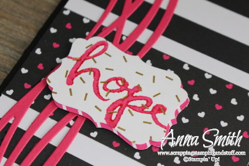 Pop of pink and black breast cancer card for hope made with Stampin' Up! Swirly Scribbles thinlits and Watercolor Words stamp set
