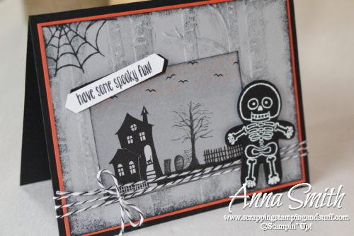 Skeleton Halloween Card made with Stampin' Up! Cookie Cutter Builder Punch, cookie cutter halloween stamp set, woodland embossing folder and Halloween Night designer paper