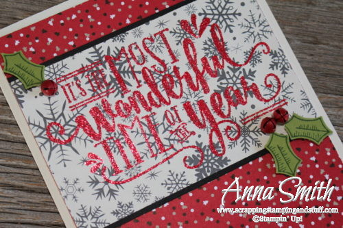 It's the Most Wonderful Time of the Year Christmas Card made with the Wonderful Year stamp set, Candy Cane Lane designer paper and glitter embossing powder!