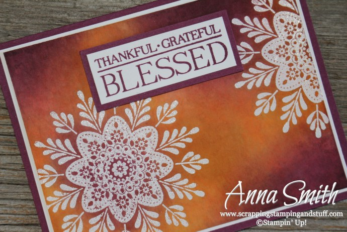 Watercolor Thanksgiving card made with Stampin' Up! Frosted Medallions stamp set