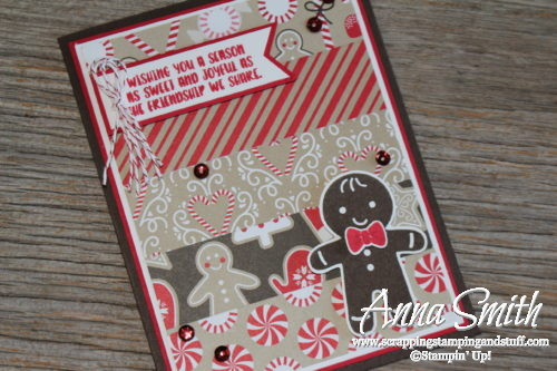 Gingerbread Man and Peppermint Christmas Card from Stampin' Up! Holiday Catalog using Cookie Cutter Christmas stamp set and Candy Cane Lane paper