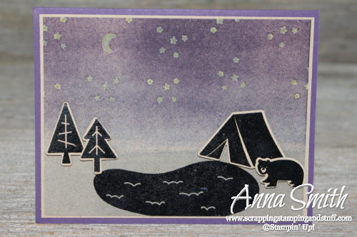 Cute silhouette camping card made with Stampin' Up! Always an Adventure stamp set