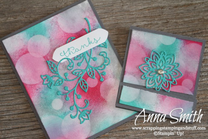 Beautiful Bokeh Card and Post It Note Cover using Stampin' Up! Flourish Thinlits Dies