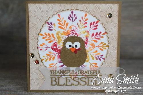 Frosted Medallions Turkey Card using the baby wipe ink pad technique and the owl builder punch!