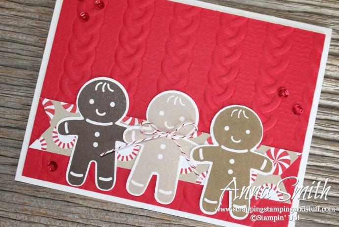 Gingerbread man card made with the Cookie Cutter Christmas Stampin' Up! stamp set, Cable Knit embossing folder, and Candy Cane Lane designer series paper.