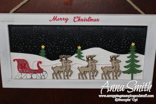 DIY gift idea - beautiful Stampin' Up! Santa's Sleigh decorated chalkboard sign that I received as a gift!