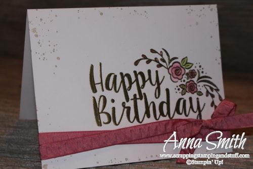 Pretty gold embossed birthday card using the Stampin' Up! Big on Birthdays stamp set