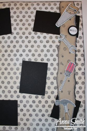 Cute tool scrapbooking page made with Stampin' Up! Nailed It stamp set, Build It framelits and Urban Underground designer paper, great for men or little boys