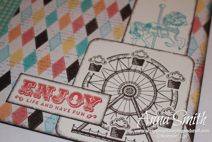Carnival circus scrapbook page made with Stampin' Up! Carousel stamp set and Cupcakes & Carousels designer paper
