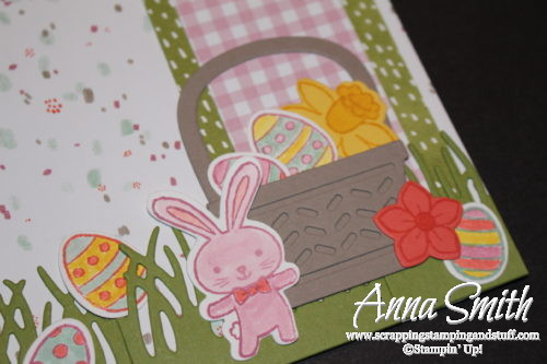 Cute Easter bunny and basket, Easter scrapbook page made with Stampin' Up! Basket Bunch stamp set and Basket Builder framelits