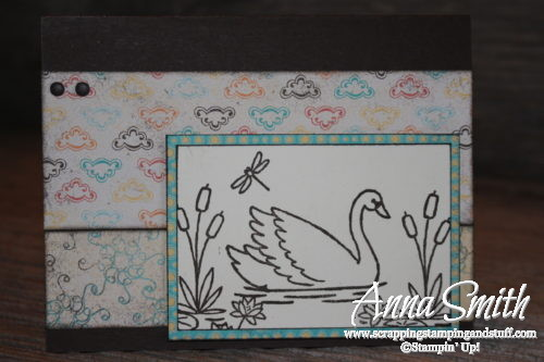 Goose swimming in pond with cattails, water lilies, and dragonfly card, made with Stampin' Up! Swan Lake stamp set