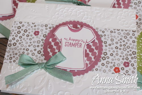 Happy stamper t-shirt card made with Stampin' Up! Custom Tee stamp set and Succulent Garden designer paper