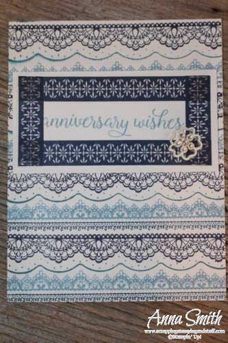 Blue lace anniversary card hand stamped using Stampin' Up! Delicate Details and Falling For You stamp sets