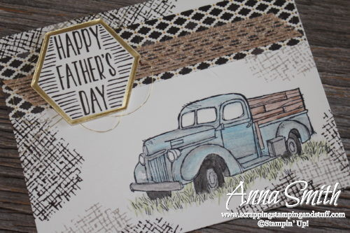 Rustic masculine antique truck Father's Day card idea made with Stampin' Up! Country Livin' and Best Birds stamp sets