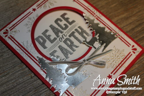 Stampin' Up 7 Days of Holiday Catalog Sneek Peeks - Day 2 Christmas card idea using Carols of Christmas stamp set, Card Front Builder thinlits, and Year of Cheer designer paper