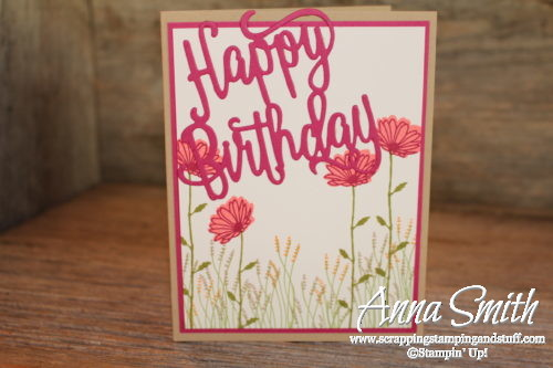 Stampin' Up! birthday card idea With Daisy Delight stamp set and Happy Birthday thinlits dies