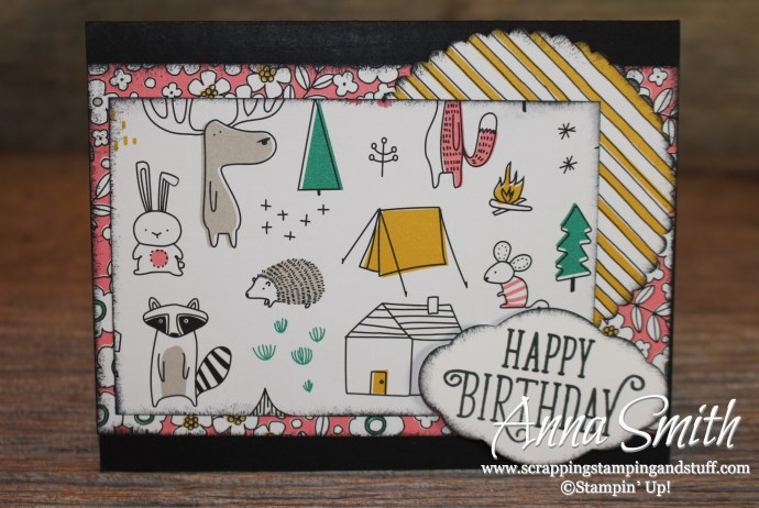 Happy birthday camping card idea using the Stampin' Up! Pick a Pattern designer series paper and Happy Birthday Gorgeous stamp set